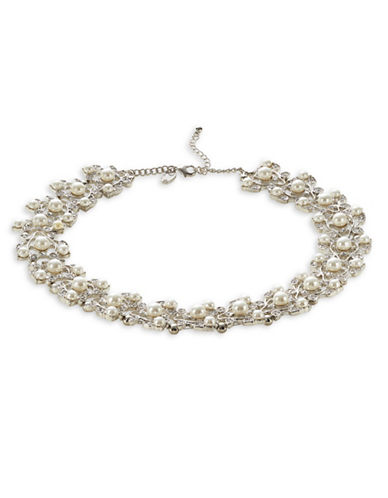 Expression Faux Pearl and Crystal Multi-Florals Choker Necklace-SILVER-One Size