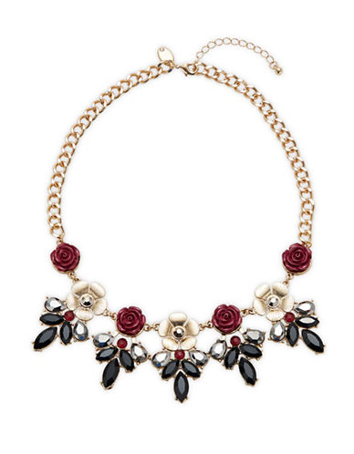 Expression Crystal Rose Statement Necklace-PINK-One Size