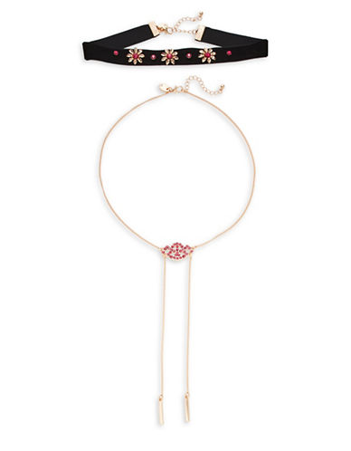 Expression Floral Choker and Necklace Set-BLACK-One Size