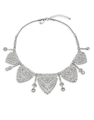 Expression Crystal Five Filigree Collar Necklace-SILVER-One Size
