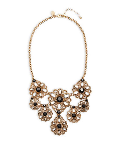 Expression Crystal Filigree Statement Necklace-BLACK-One Size
