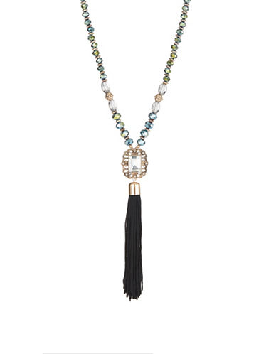 Expression Beaded Tassel Pendant Necklace-BLUE-One Size