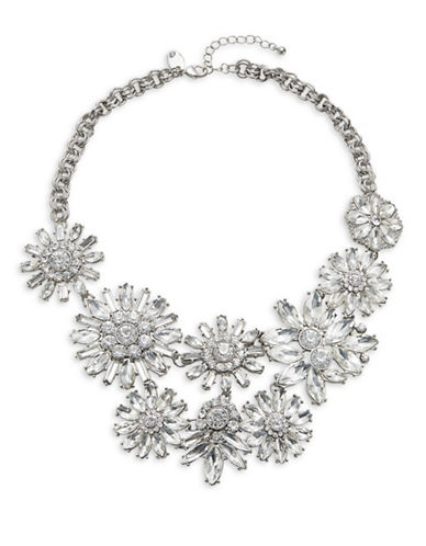 Expression Crystal Multi-Size Floral Statement Necklace-SILVER-One Size