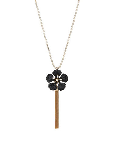 Expression Crystal Flower and Tassel Charm Necklace-BLACK-One Size
