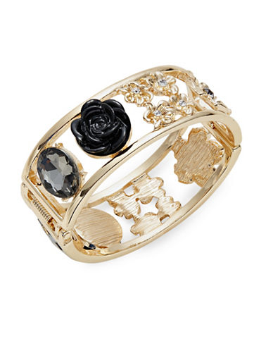 Expression Crystal Oval Flower Cuff Bracelet-BLACK-One Size