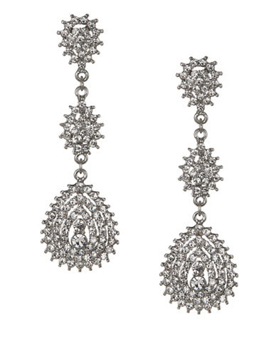Expression Crystal Pavé Three Drop Earrings-SILVER-One Size