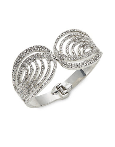 Expression Crystal Twisted Pavé Cuff Bracelet-SILVER-One Size