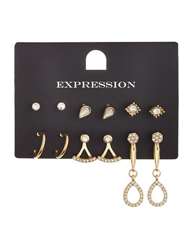 Expression Six-Piece Crystal Stud Pavé Front to Back Earrings Set-GOLD-One Size