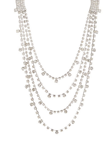 Expression Crystal Multi-Row Necklace-SILVER-One Size