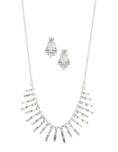 Expression Crystal Rectangular Piano Necklace and Earrings Set-SILVER-One Size