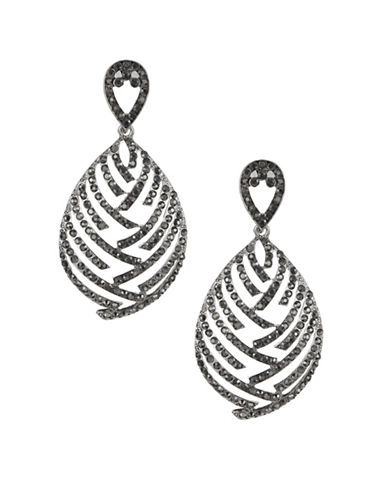 Expression Crystal Micro Pavé Teardrop Drop Earrings-DARK GREY-One Size