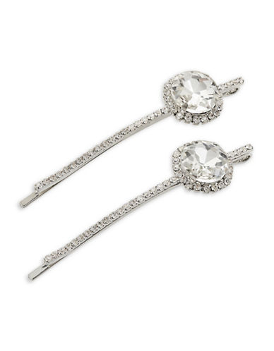 Expression Two-Piece Faceted Stone Bobby Pin Set-SILVER-One Size