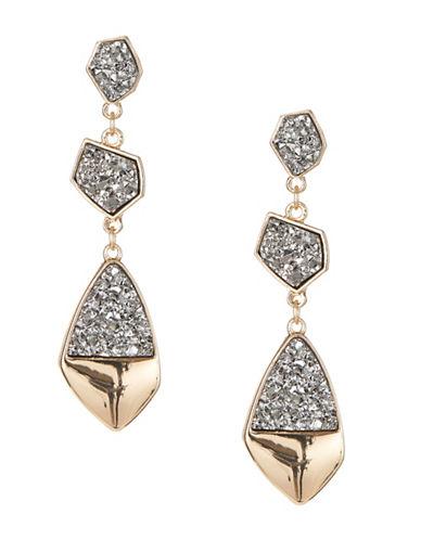 Expression Three Drop Druzy Earrings-DARK GREY-One Size
