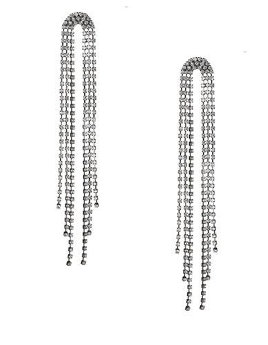 Expression Crystal U-Shape Cup Chain Shoulder Drop Earrings-DARK GREY-One Size
