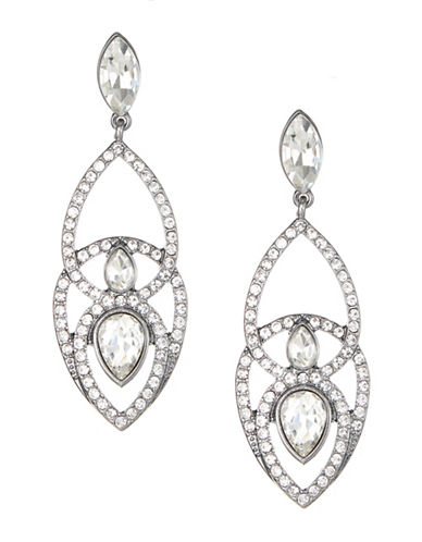Expression Pave Tear Drop Earrings-DARK GREY-One Size
