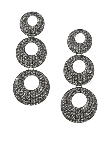 Expression Crystal Three Pavé Disc Drop Earrings-DARK GREY-One Size