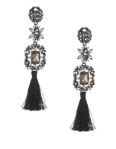 Expression Crystal Faceted Drop Earrings-BLACK-One Size