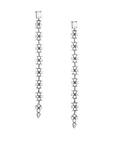 Expression Crystal Linear Drop Earrings-DARK GREY-One Size