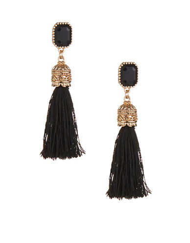 Expression Crystal Tassels Drop Earrings-BLACK-One Size