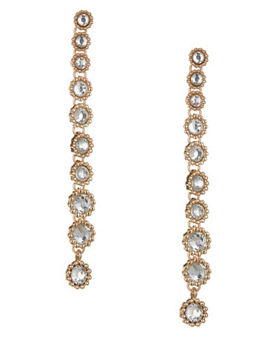 Expression Crystal Round Drop Earrings-GOLD-One Size