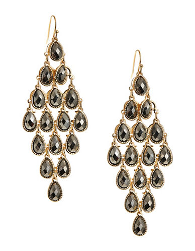 Expression Teardrop Chandelier Earrings-DARK GREY-One Size