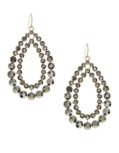 Expression Two Row Stone Teardrop Earrings-DARK GREY-One Size