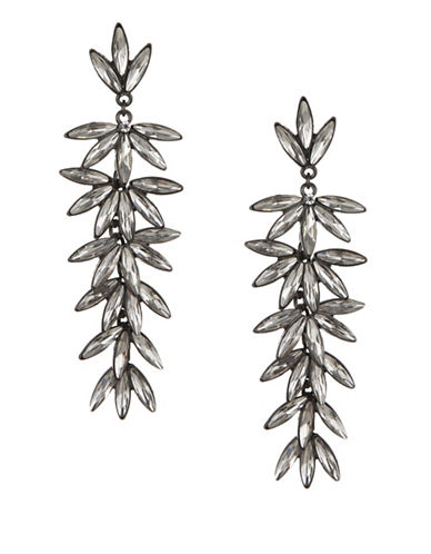 Expression Crystal Six Navette Section Drop Earrings-DARK GREY-One Size