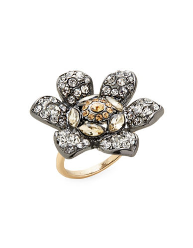 Expression Rhinestone Flower Ring-DARK GREY-7