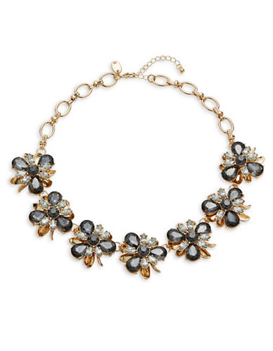 Expression Crystal Seven Section Statement Necklace-BLACK-One Size