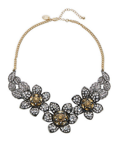 Expression Crystal Three Flowers and Leaves Statement Necklace-DARK GREY-One Size