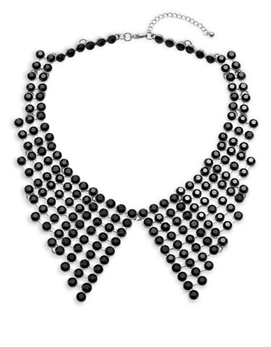 Expression Faceted Stone Peter Pan Collar Necklace-DARK GREY-One Size
