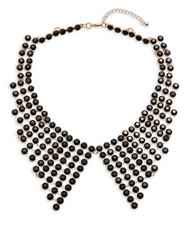 Expression Crystal Section Faceted Statement Necklace-BLACK-One Size