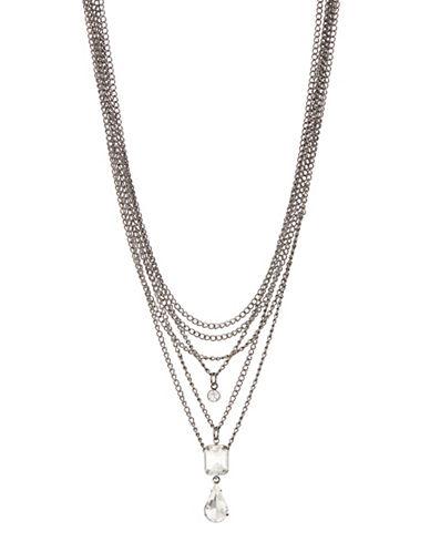 Expression Crystal Multi Row Choker-DARK GREY-One Size