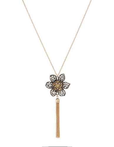 Expression Crystal Flower Charm Necklace-DARK GREY-One Size