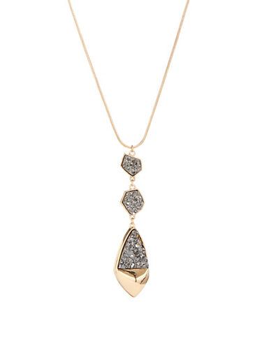 Expression Crystal Three Druzy Charm Necklace-DARK GREY-One Size