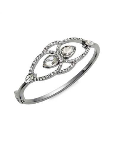 Expression Crystal Pavé Tear Drop Cuff Bracelet-DARK GREY-One Size