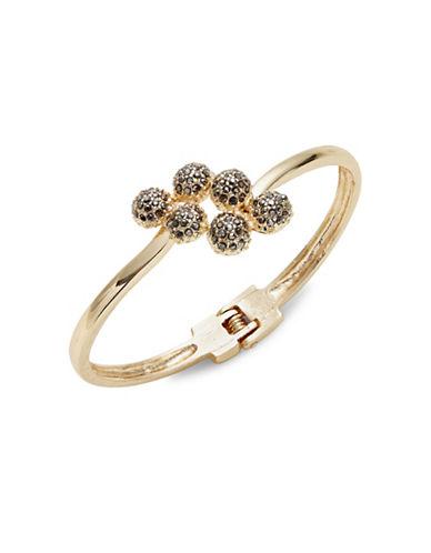 Expression Crystal Six Pavé Half Ball Cuff Bracelet-DARK GREY-One Size