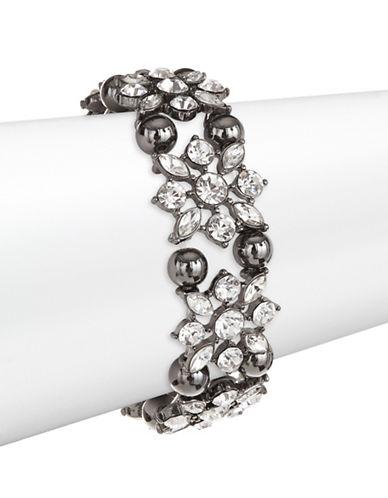 Expression Crystal Navette Stretch Bangle Bracelet-DARK GREY-One Size