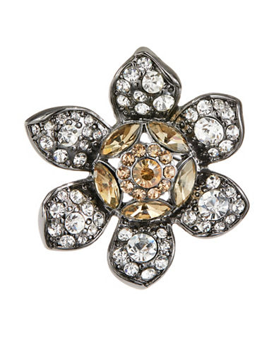 Expression Crystal Flower Brooch-DARK GREY-One Size