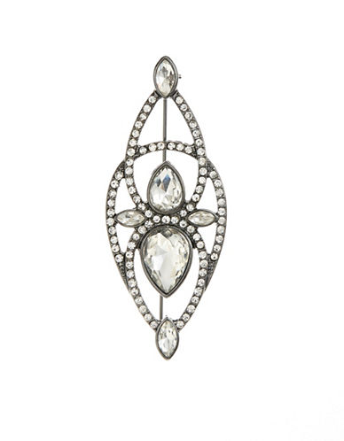 Expression Pave Teardrop Brooch-DARK GREY-One Size