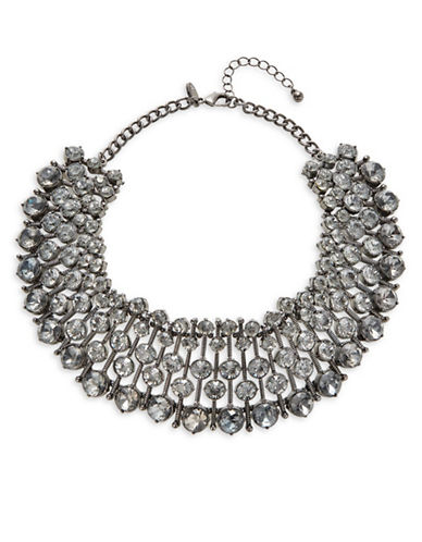 Expression Faceted Statement Collar Necklace-DARK GREY-One Size