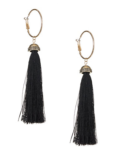 Expression Tassel Hoop Earrings-BLACK-One Size