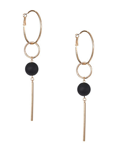 Expression Ball and Hoop Drop Earrings-BLACK-One Size