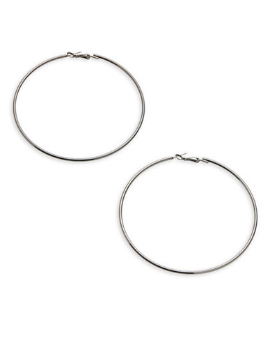 Expression Crystal Large Hoop Earrings - 3.5in-DARK GREY-One Size
