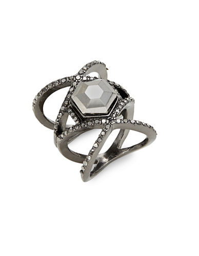 Expression Crystal Crisscross Midi Ring-DARK GREY-8