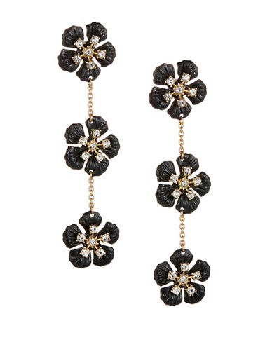 Expression Crystal Three Floral Drop Earrings-BLACK-One Size