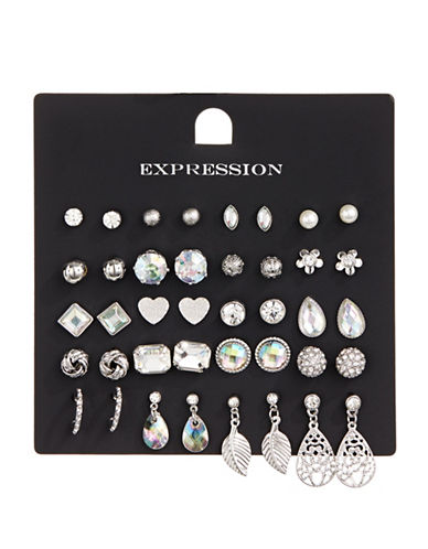 Expression 20-Piece Crystal Teardrop Earrings Set-SILVER-One Size