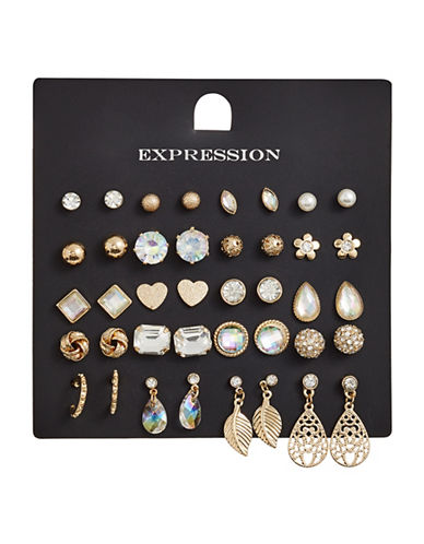 Expression 20-Piece Crystal Teardrop Earrings Set-GOLD-One Size