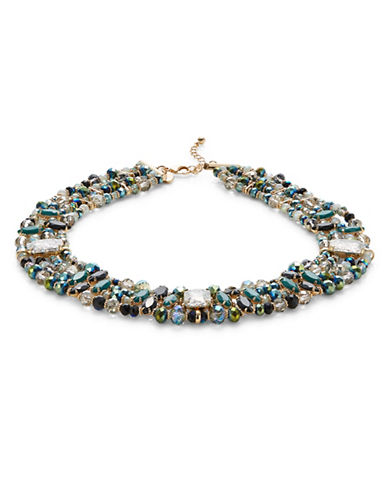 Expression Multi Beaded Row Stone Necklace-GREEN-One Size