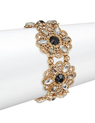Expression Crystal Filigree Flower Bangle Bracelet-BLACK-One Size